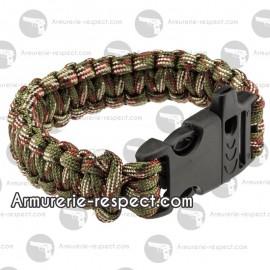 Bracelet de survie paracorde Camo et sifflet