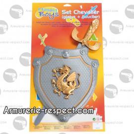 Set de chevalier avec glaive et bouclier