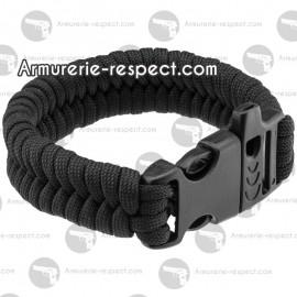 Bracelet de survie paracorde noire et sifflet Bracelet de survie paracorde Noire et sifflet