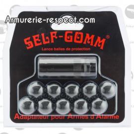 ADAPTATEUR POUR ARMES D'ALARME + 10 PROJECTILES - SELF GOMM Carte de 10 projectiles SELF GOMM et un adaptateur 10 mm x 150
