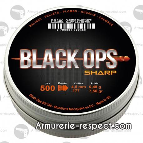 PLOMBS BLACK OPS TETE POINTUE -  CAL 4.5 boite de 500 (x5) PLOMBS BLACK OPS TETE POINTUE