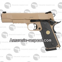 Spartan STS-7 1911 tan métal réplique airsoft blowback Gaz et Co2