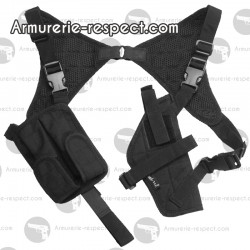 Holster d'épaule noir pour pistolet ou revolver