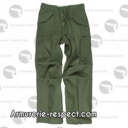 Pantalon US vert coupe large avec poches