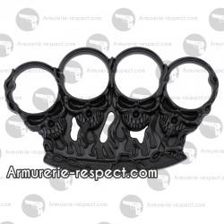 Coup de poing américain Skulls métal noir