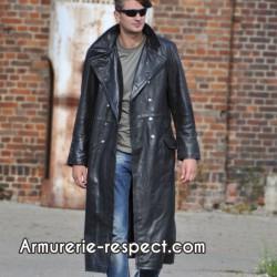 Manteau long d'officier en cuir noir