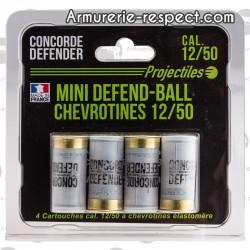 4 chevrotines de protection Mini Defend Ball en caoutchouc 12/50