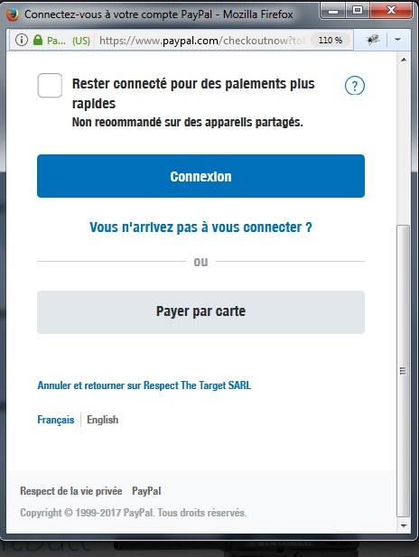 Etape 1 - Paiement par carte bancaire sur armurerie-respect.com